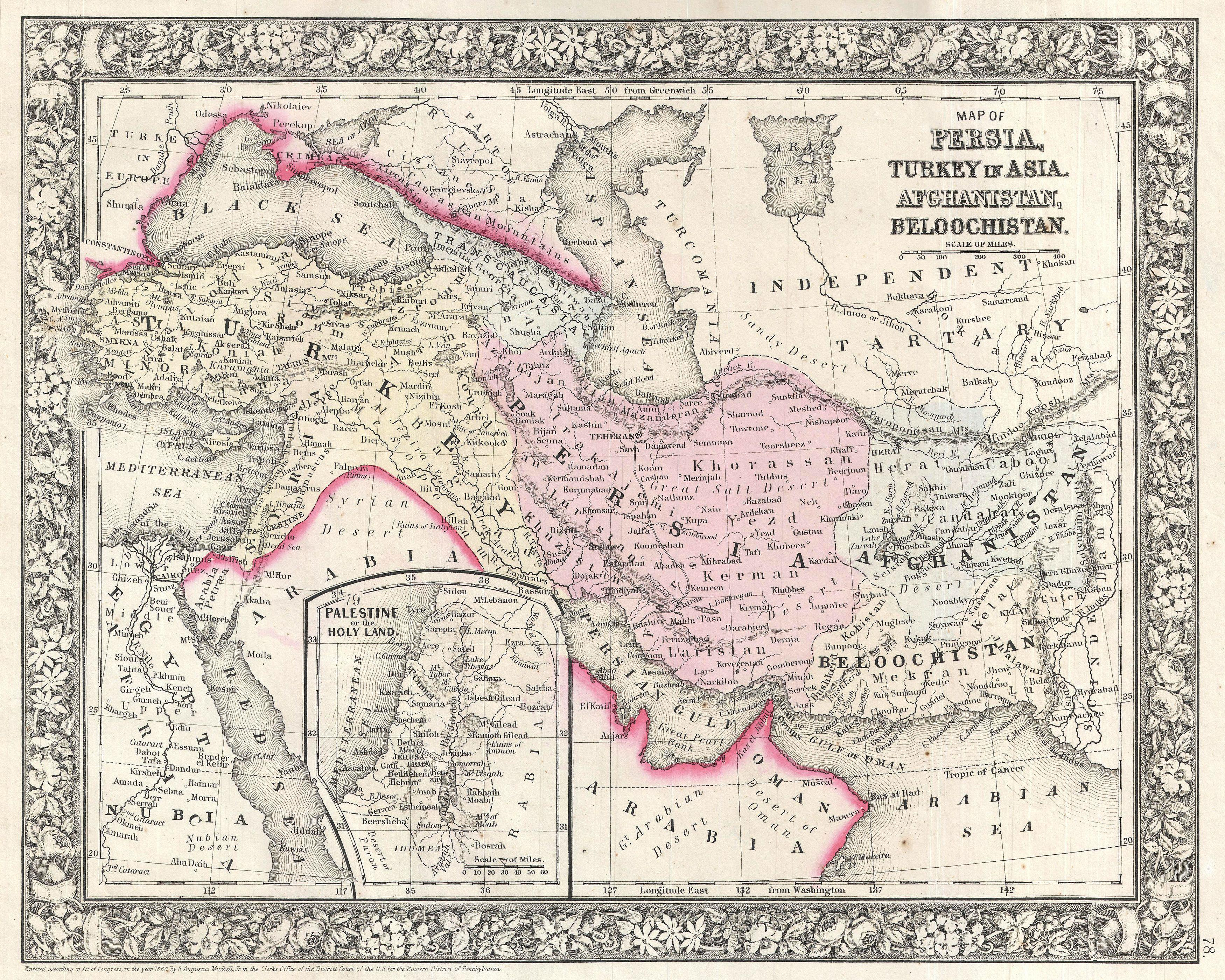 File1866 Mitchell Map of Persia Turkey and Afghanistan Iran – Afghanistan Iran Map