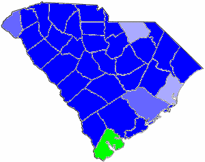 1882 South Carolina gubernatorial election map, by percentile by county.   65+% won by Thompson   60%-64% won by Thompson   55%-59% won by Thompson   65+% won by McLane