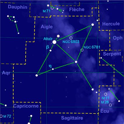 Carte pour la constellation Aigle Produite à l'aide du logiciel PP3 - Grum / Orthogaffe / Korrigan - Wikimedia Commons