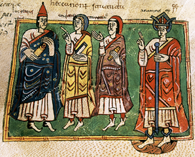Theodemar (or Ariamir), king of Galicia with the bishops Lucrecio, Andrew, and Martin. Codex Vigilanus (or Albeldensis), Escurial library Ariamirogaliza.jpg