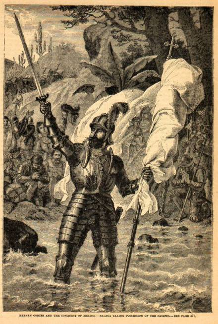Balboa claiming possession of the South Sea (19th century engraving by unknown artist) Balboa sudsee.jpg