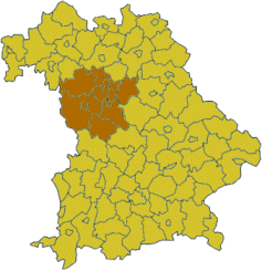 Map of Bavaria highlighting the  Regierungsbezirk of Middle Franconia