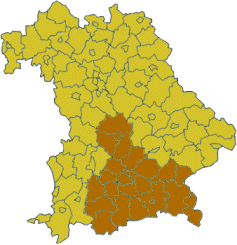 Map of Bavaria highlighting the Regierungsbezirk of Upper Bavaria
