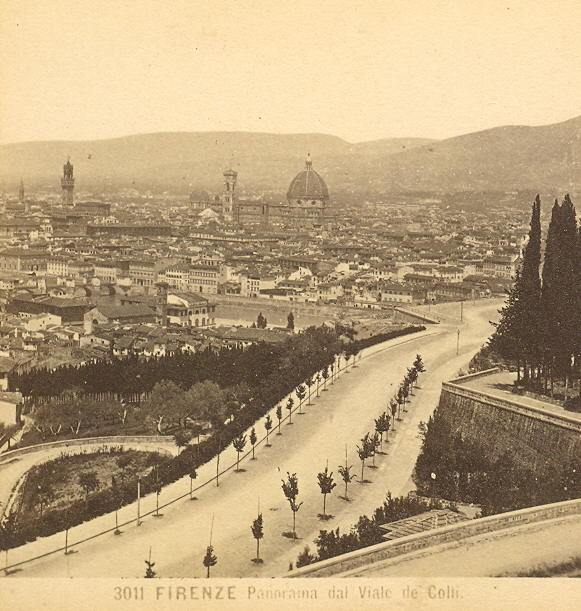 Viale dei Colli and panorama of Firenze in a nineteenth-century photo