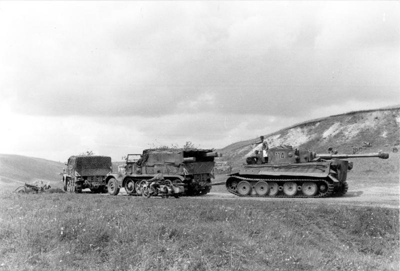 Two Sd.Kfz. 9 heavy tractors towing a Tiger I of schwere Panzer-Abteilung 503