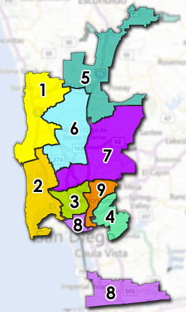 Council Districts used for the 2020 election