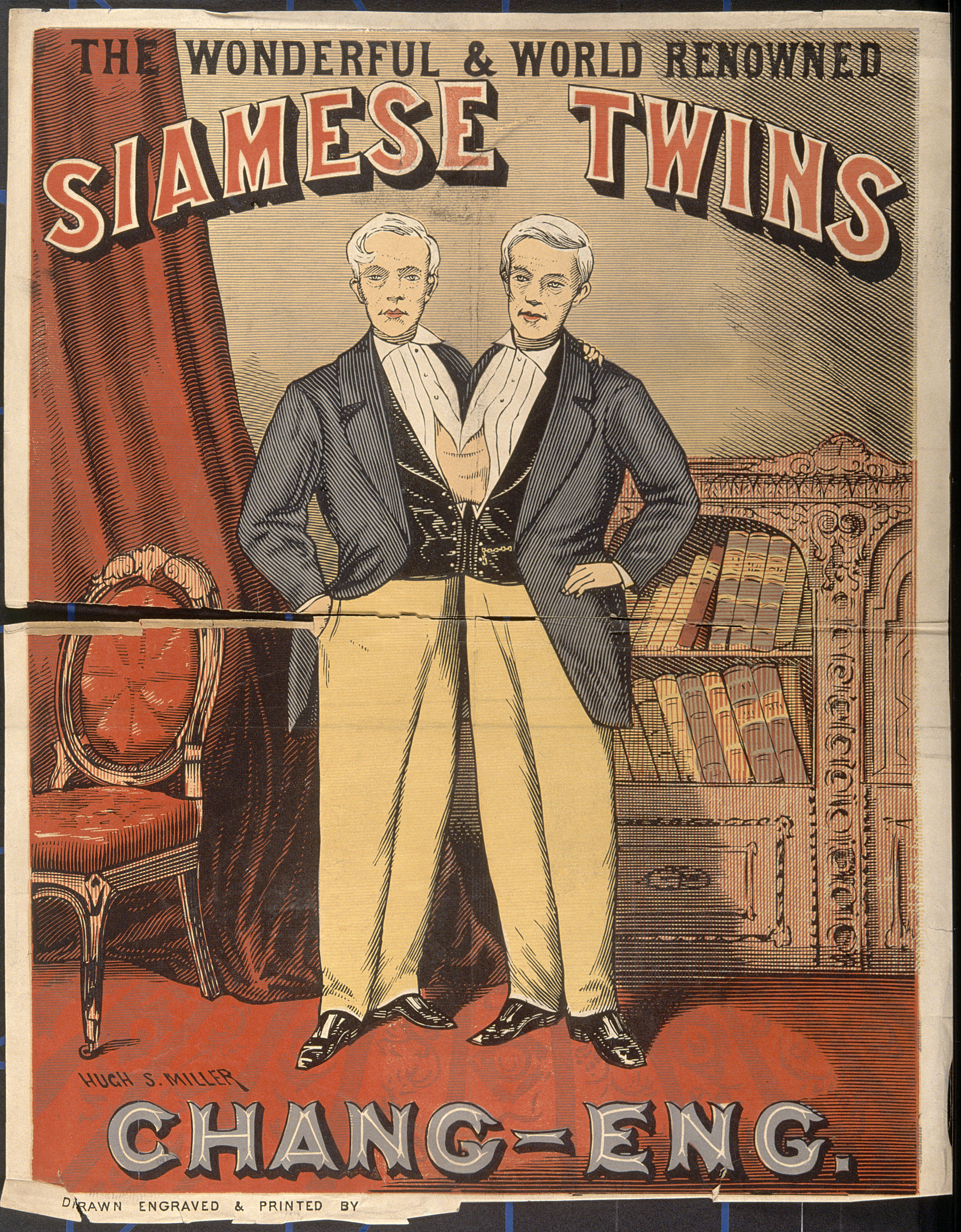File:Chang and Eng, the Siamese twins, in evening dress. Colour w Wellcome V0010478.jpg ...