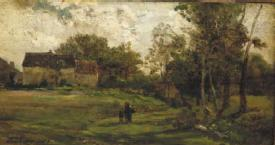 Landscape with farm and trees