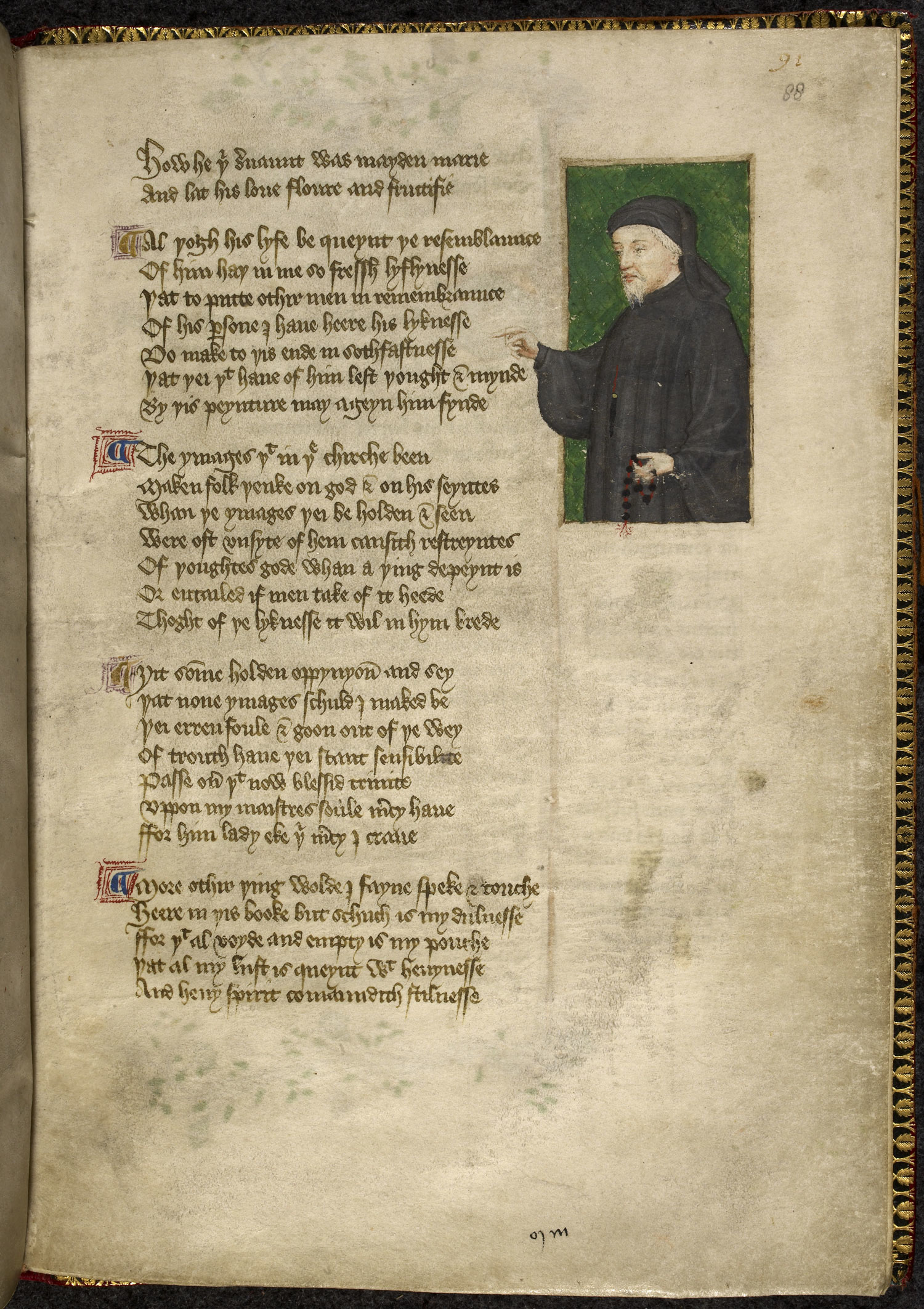 Portrait of Chaucer from a manuscript by Thomas Hoccleve, who may have met Chaucer Chaucer Hoccleve.png