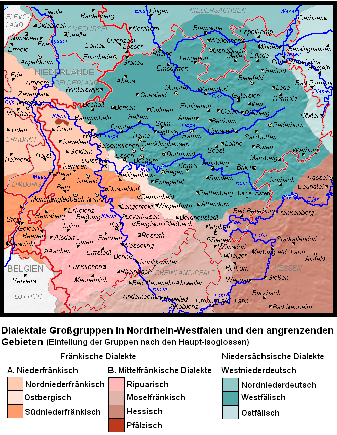 Dialects in North Rhine-Westphalia: Franconian dialects in red, West Low German dialects in blue. Dialekte in Nordrhein-Westfalen.PNG
