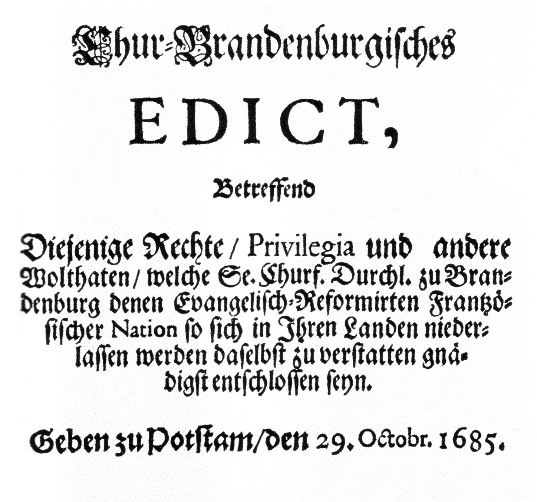 Das Edikt von Potsdam, auch Potsdamer Toleranzedikt genannt