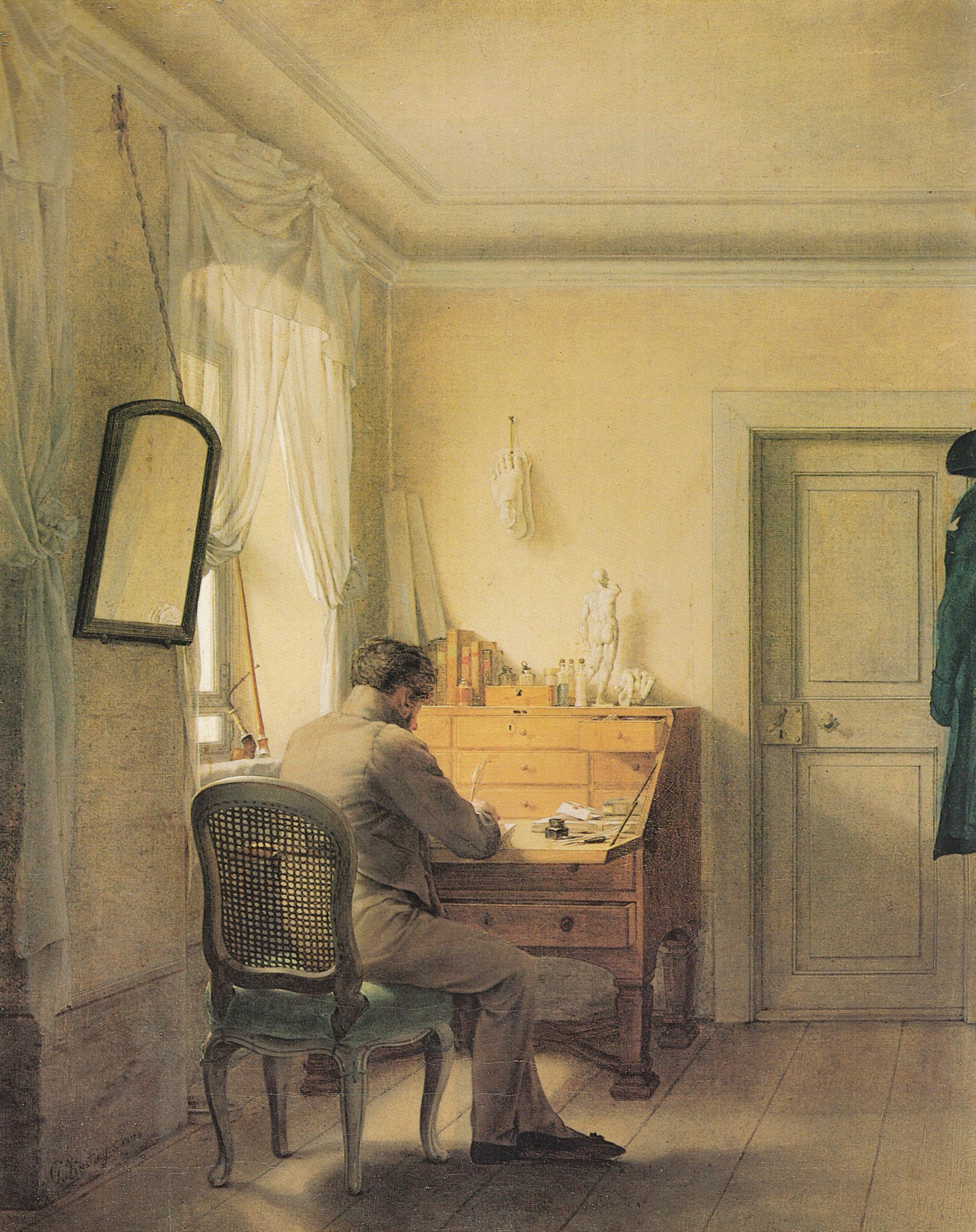 Interieurmalerei  Datei:Georg Friedrich Kersting - Mann am Sekretär (Kügelgen am ...