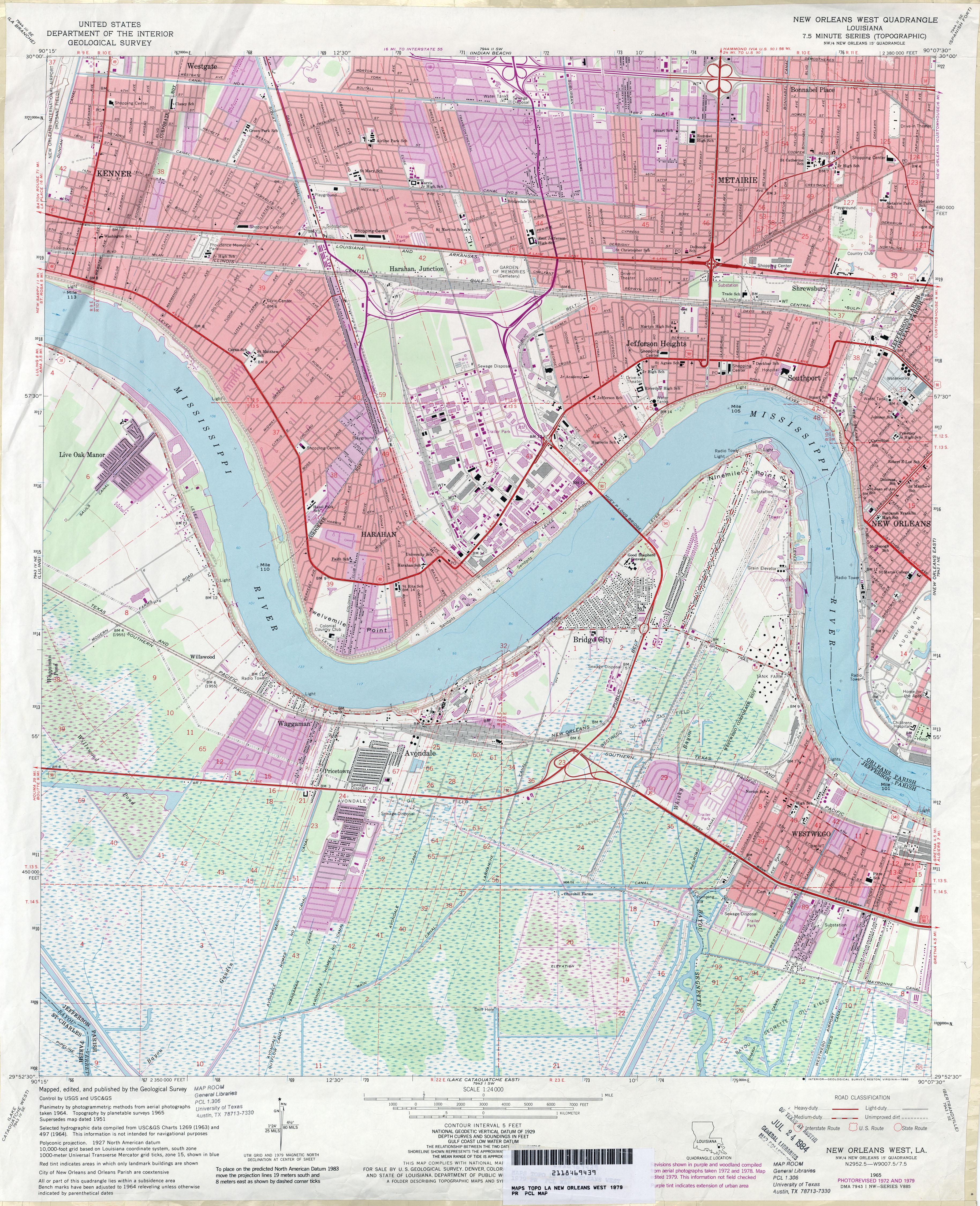 FileJefferson Parish Louisiana Riverfront New Orleans Map 1979jpg