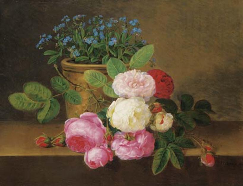 Johan Laurentz Jensen - Forglmmigej i potte, og røde, lyserøde og hvide roser på en karm - 1824.png