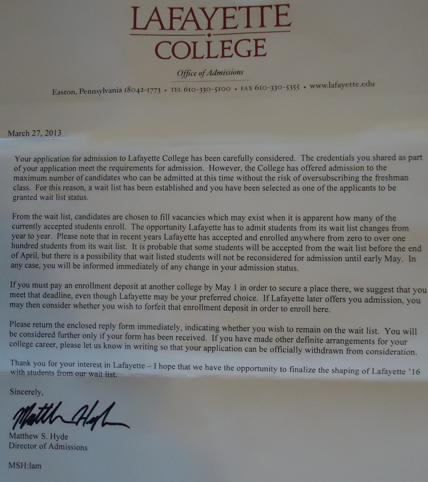 FileLafayette College admissions department waitlist letterjpg