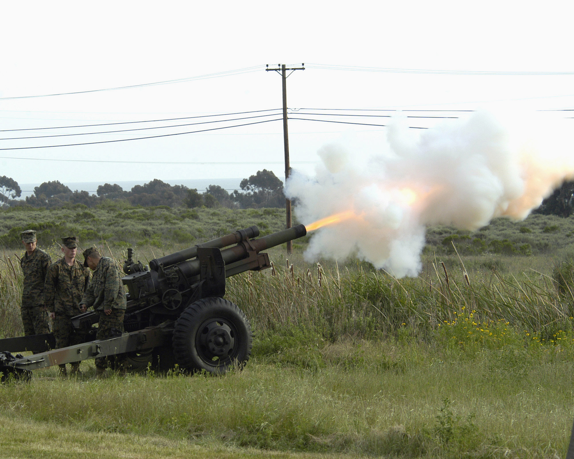 U.S. Marines fire blank rounds from a M101 howitzer at a ceremony