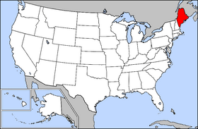 Map of the United States with Maine highlighted
