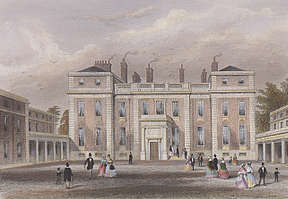 This view of the entrance front published in the 1850s before Pennethorne's additions shows an additional storey on the wings. The wings later gained a fourth main storey, and the central section gained a third.