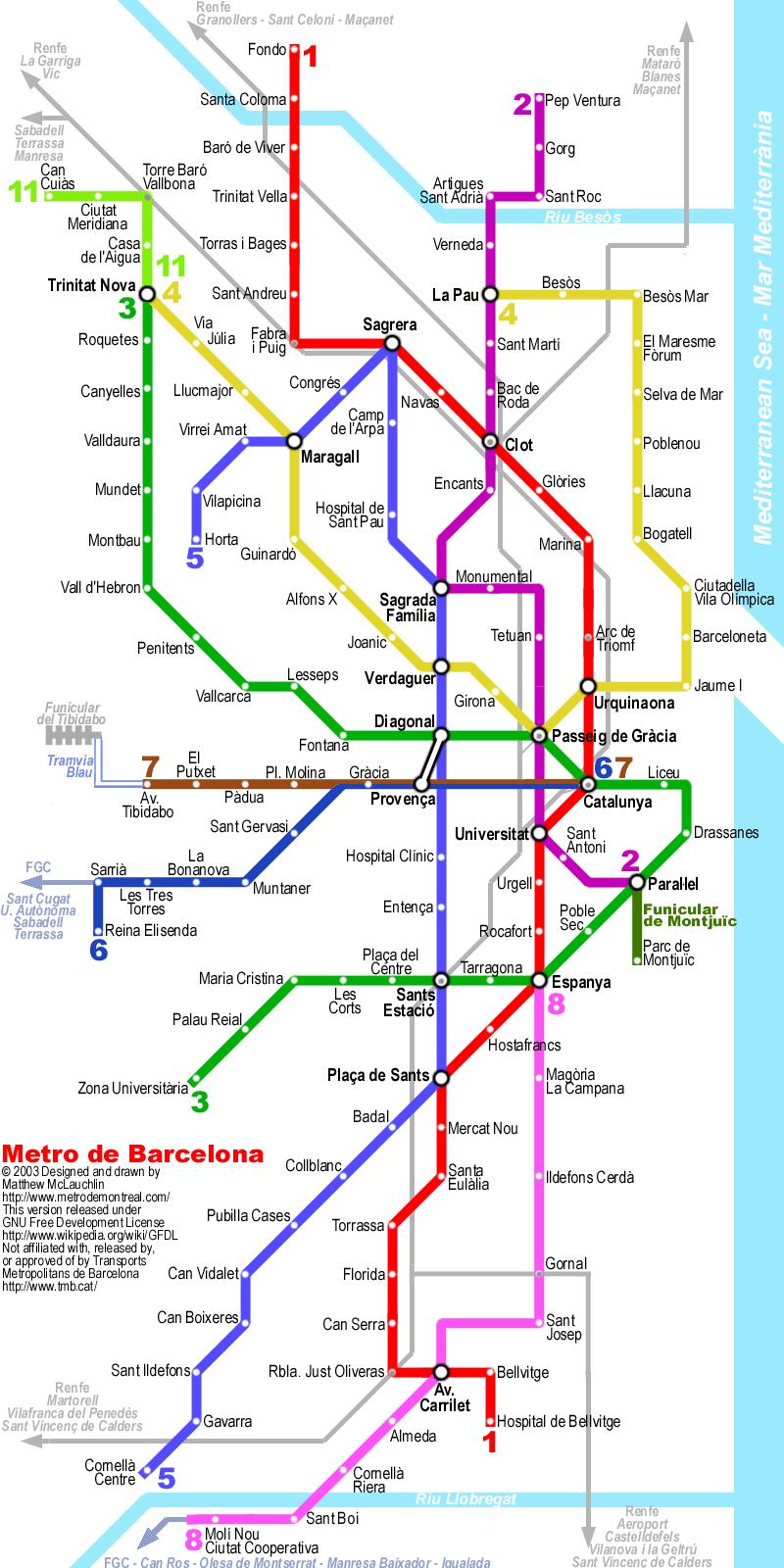 Шесть из них (L1, L2, L3, L4, L5 и L11) курируются Управлением метрополитена Барселоны (TMB) .