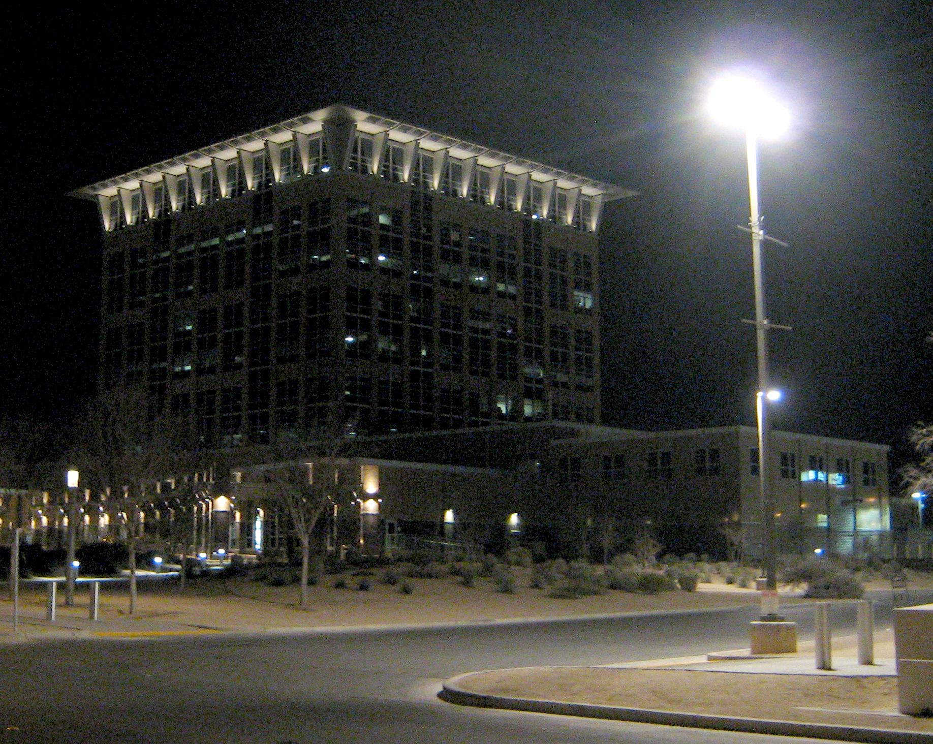 File:North Las Vegas City Hall At Night, February 2013.jpg