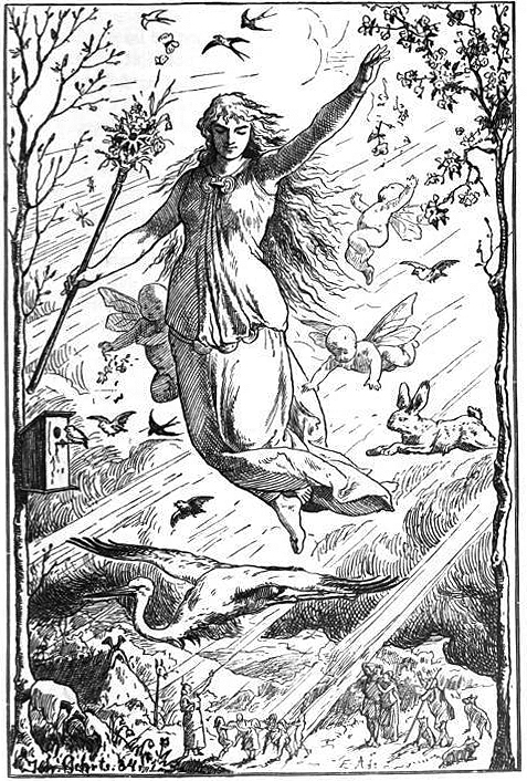 An image of Eostre, often wrongly believed to be the goddess who inspired Easter.
