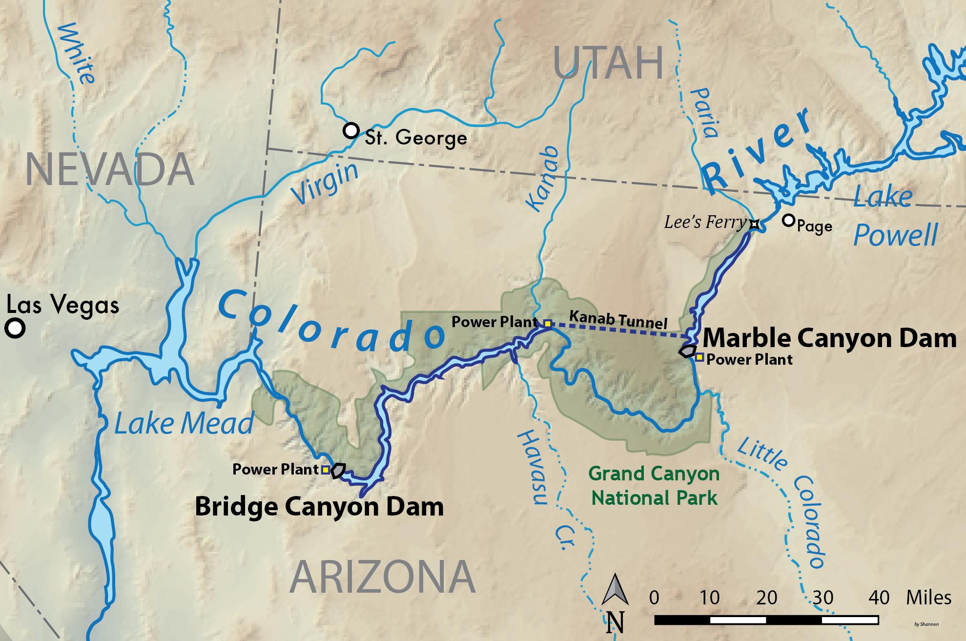 Map Of Arizona Including Grand Canyon.Bridge Canyon Dam Wikipedia