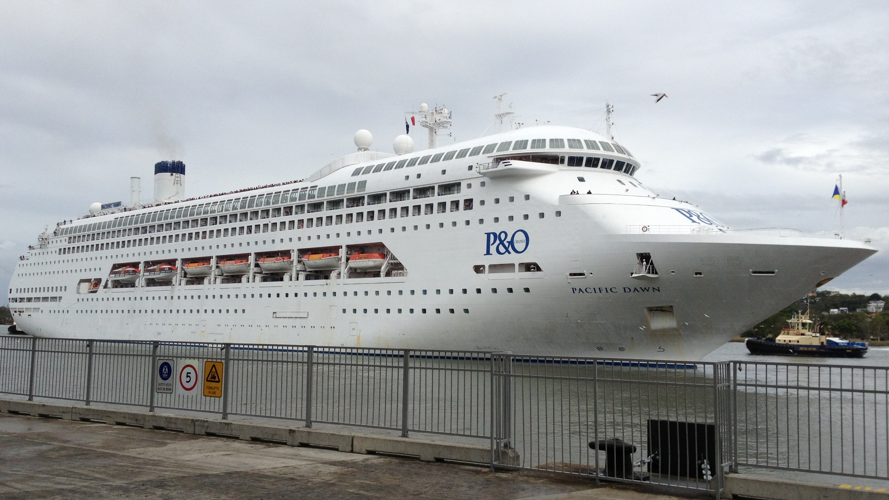 FilePacific Dawn Ship At Portside Wharf Jpg - Port side of a cruise ship