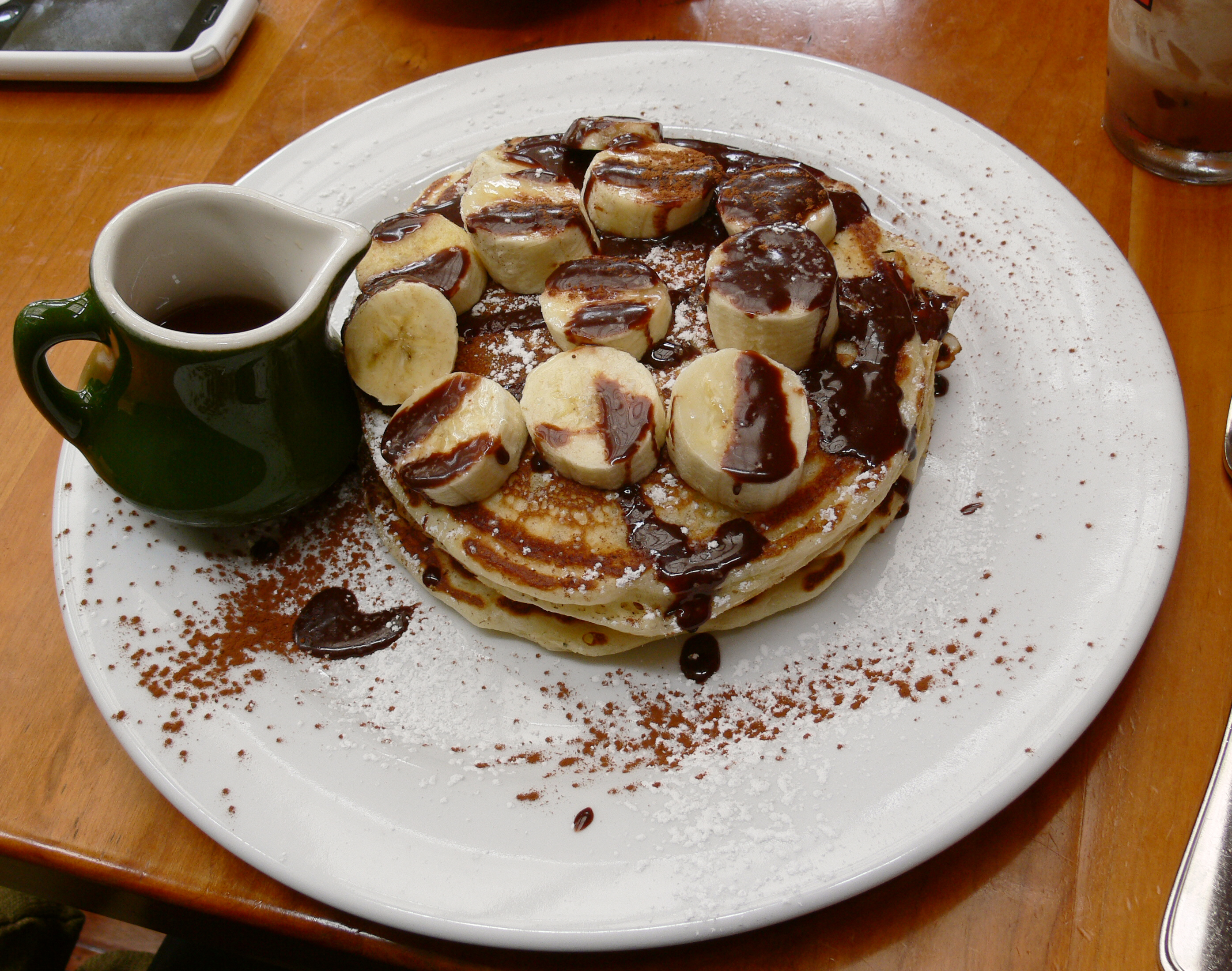 File Pancakes With Bananas And Chocolate Sauce Jpg