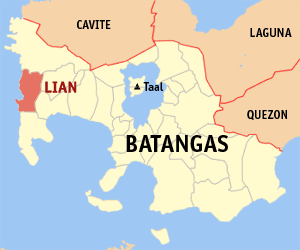 Map of Batangas showing the location of Lian