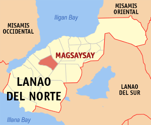 Map of Lanao del Norte showing the location of Magsaysay