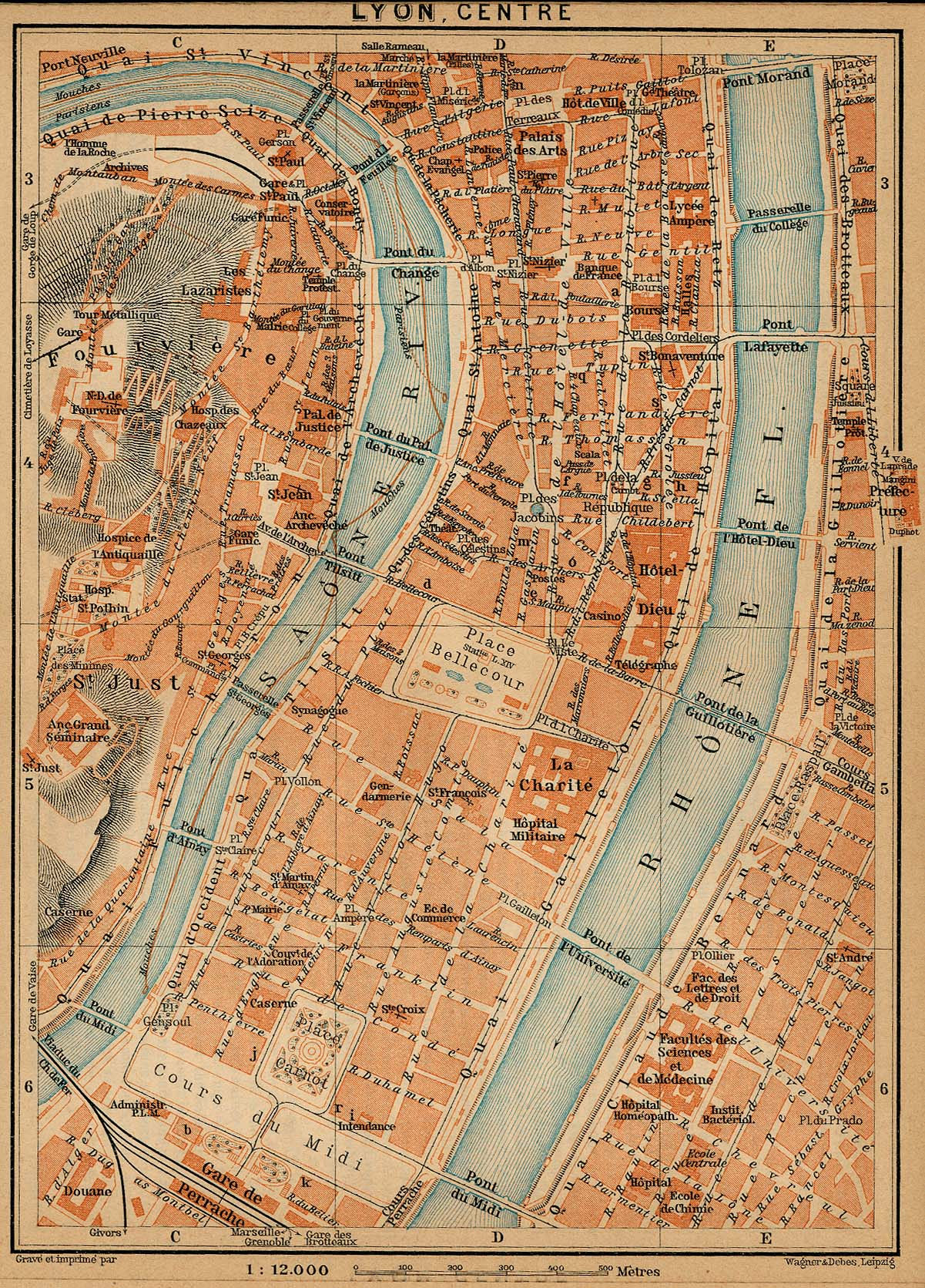 File:Plan Lyon centre Baedeker Southern France 1914.