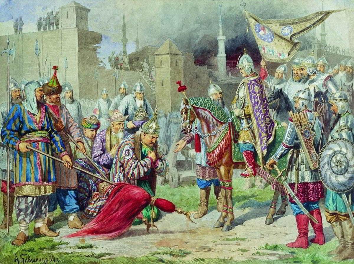 Покорение Казани. Плененного Едигира царя казанского приводят к Ивану