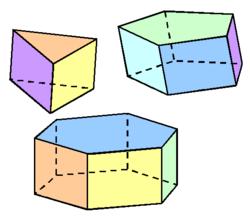 Prisma's zijn een voorbeeld van wiskundige figuren.