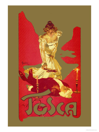 Poster for the opera Tosca by Giacomo Puccini