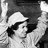 Rawya Ateya waving to supporters during her 1957 electoral campaign