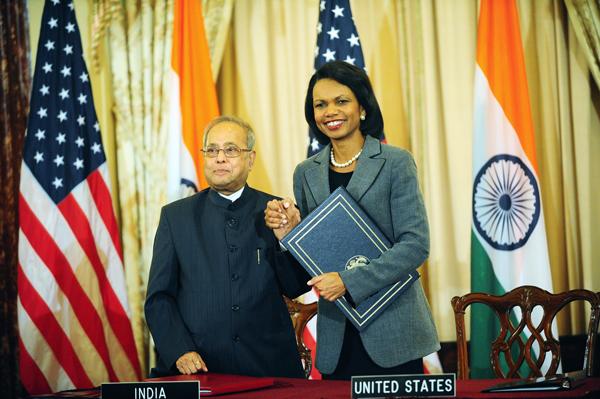 Rice-Mukherjee sign US-India Civilian Nuclear Cooperation Agreement.jpg