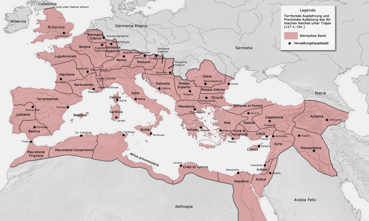Das Römische Reich und seine Provinzen zur Zeit seiner größten Ausdehnung unter Kaiser Trajan in den Jahren 115–117