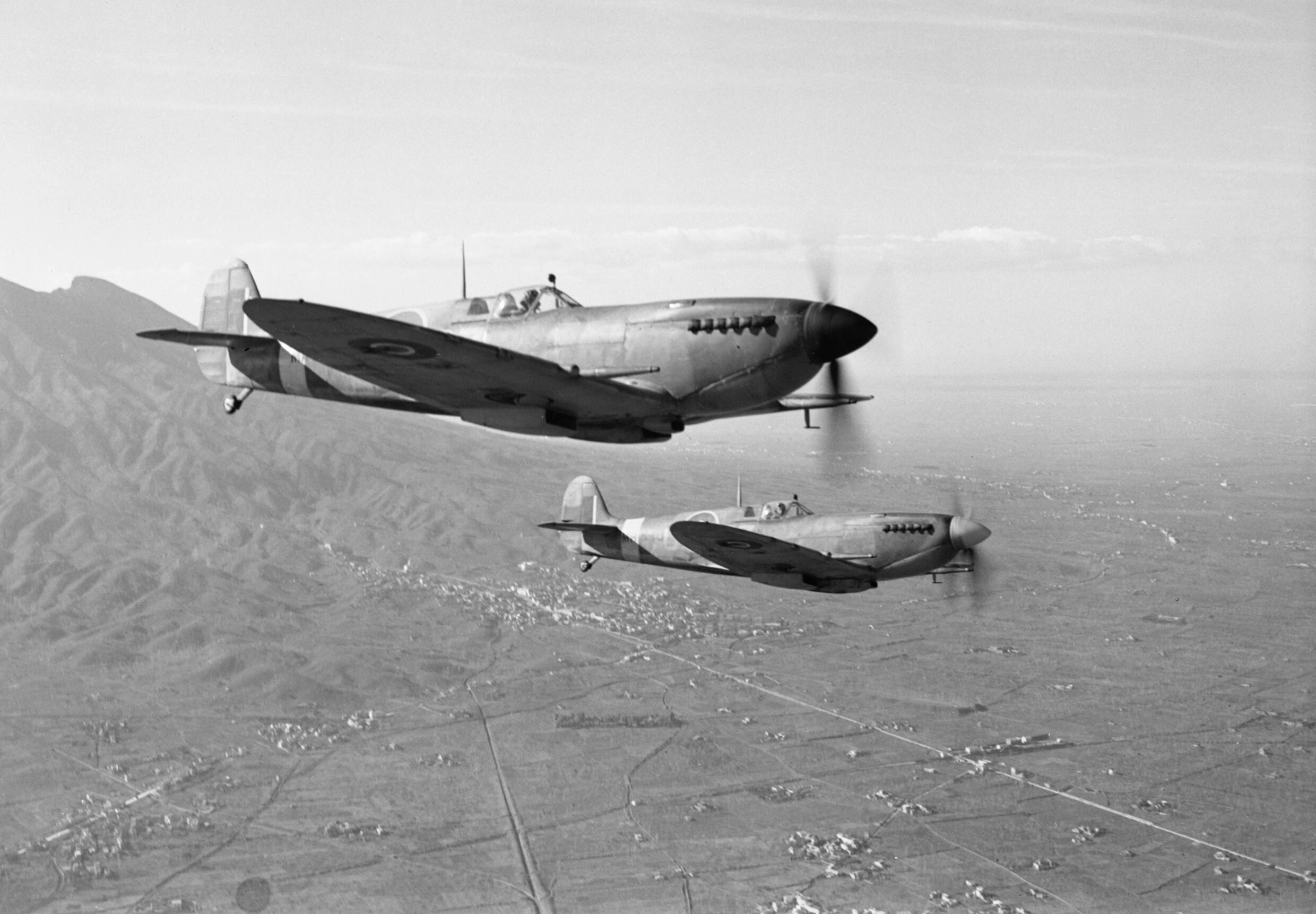 Supermarine Spitfire Mk IXs of No 241 Squadron RAF return to their base at Madna south east of Campomarino Italy after a weather reconnaissance sortie over the Anzio beachhead 29 January 1944 CNA2499