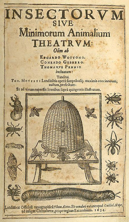 Title page of Thomas Moffett's work on insects, posthumously published. Image available on Wikimedia Commons.