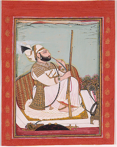 Miniature portrait by Bagta of Rawat Gokul Das smoking a hookah and holding a rifle.