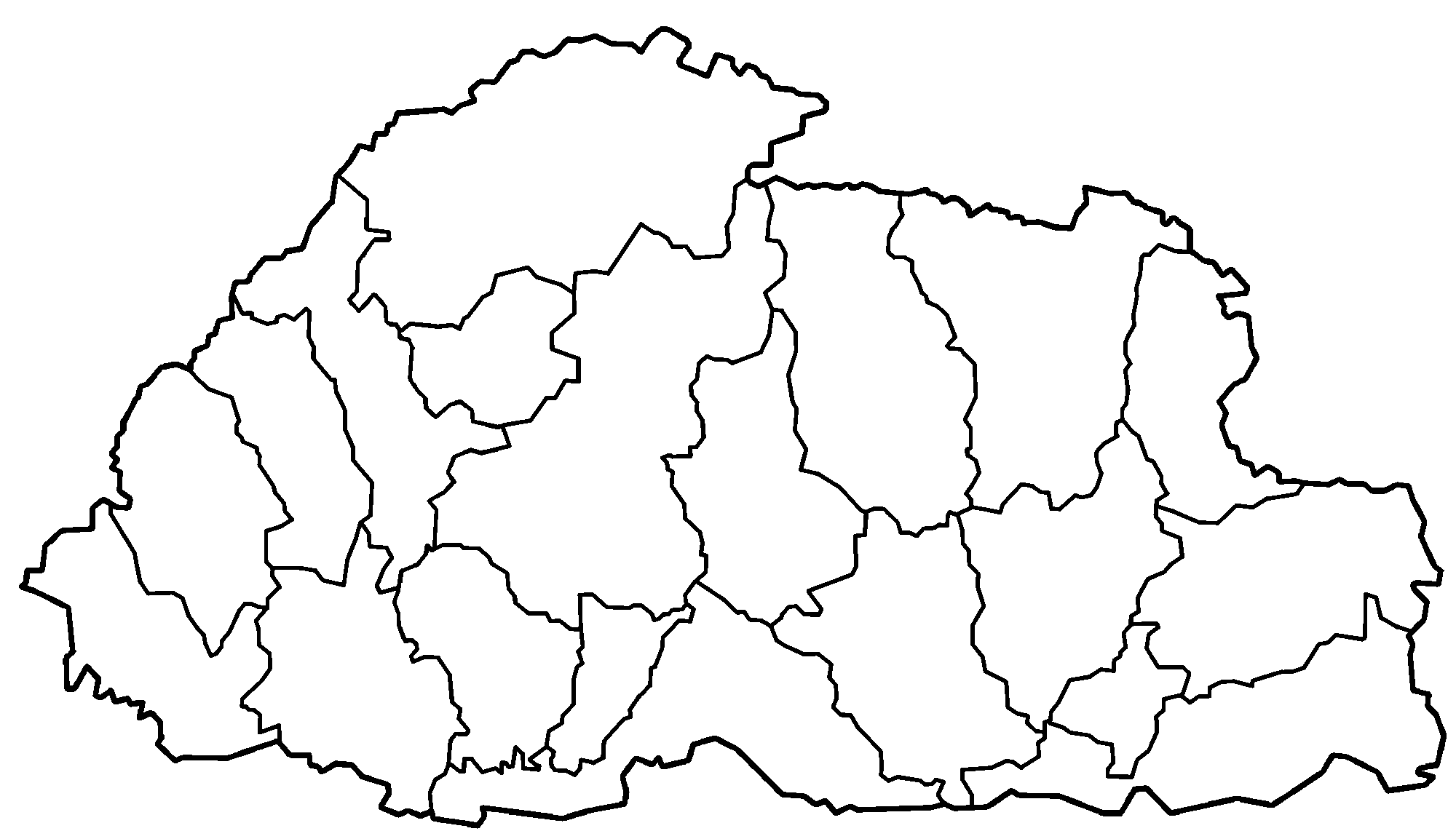 FileBhutan Districts Blankpng Wikimedia Commons - Map of bhutan with districts