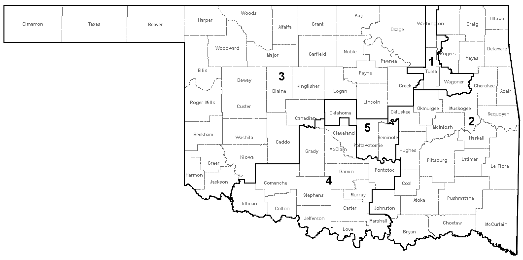 Oklahomas Congressional Districts Wikipedia Oklahomas St - Oklahoma in us map