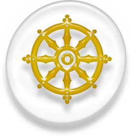 An eight-spoked wheel, the symbol of Buddhism