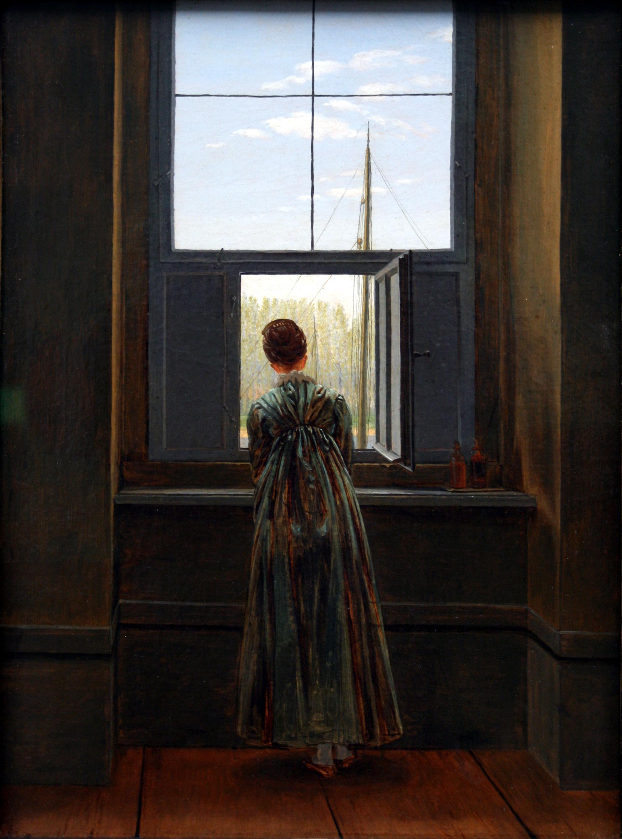Mujer junto a la ventana, Caspar David Friedrich