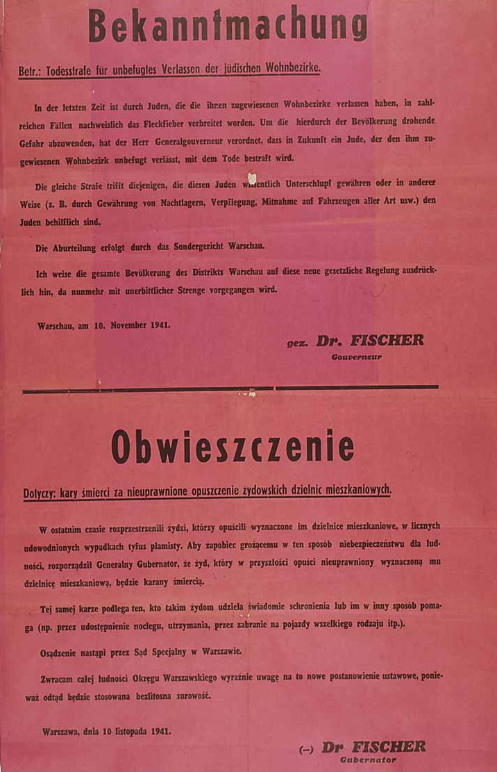 Death penalty for Jews outside ghetto and for Poles helping Jews anyway 1941.jpg