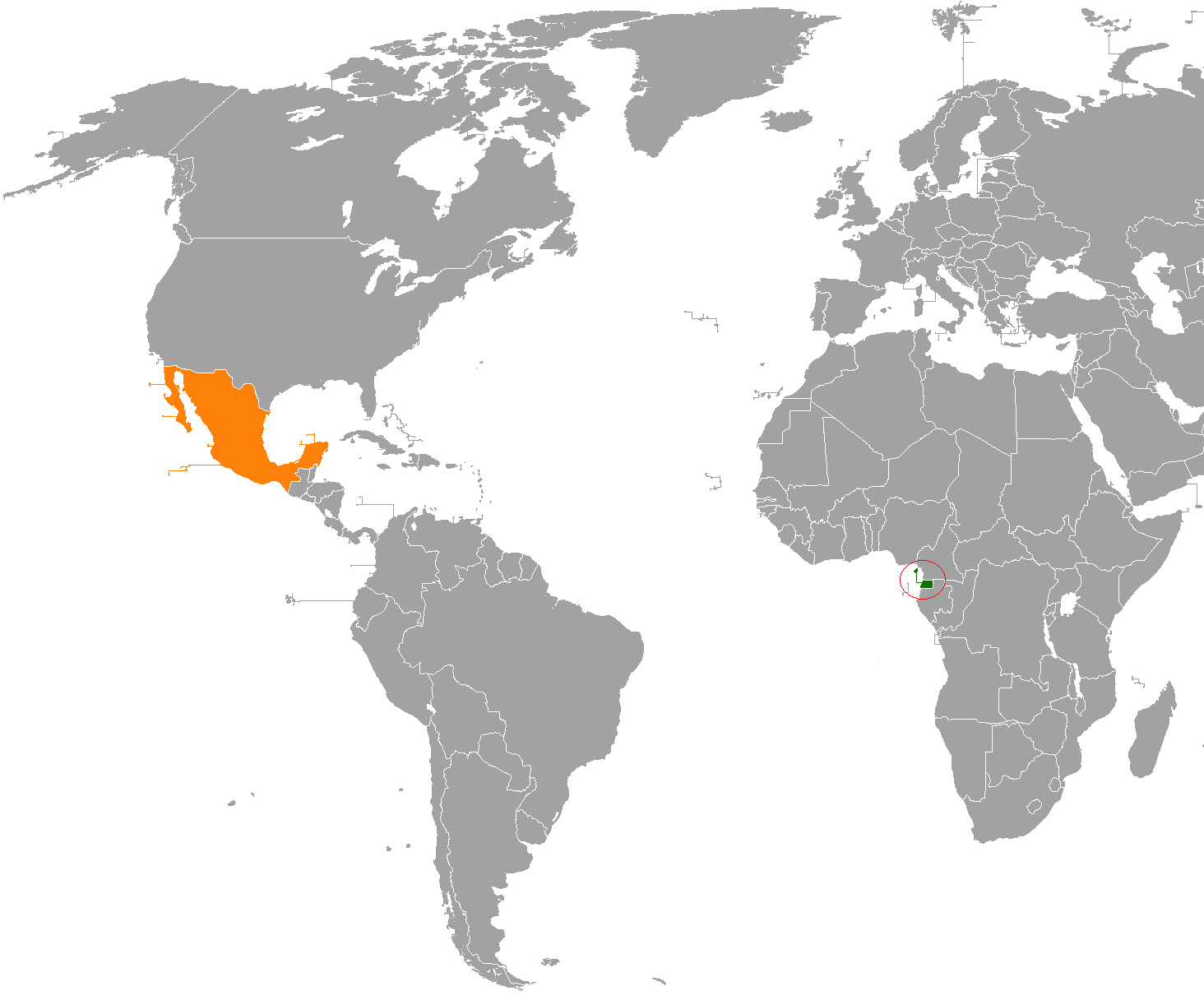 Equatorial Guinea–Mexico relations - Wikipedia on equatorial guinea africa, ghana world map, cape verde world map, equatorial guinea on map south america, malabo map, equator location on map, heremakono on the location of guinea africa map, tunisia world map,