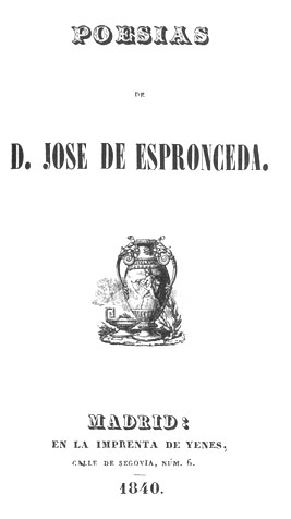 Титульный лист сборника стихотворений Эспронседы