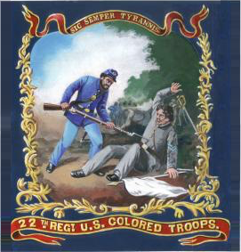 Banner of the 22nd Regiment of the USCT, depicting a black U.S. soldier bayoneting a Confederate