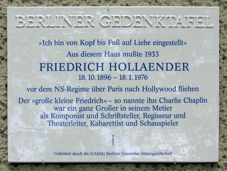 Placa conmemorativa, en Berlín.