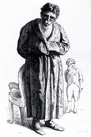 Cartoon of Geoffroy as an ape, with Cuvier in the background, by Jean Ignace Isidore Gerard Grandville, 1842 Geoffroy772.jpg